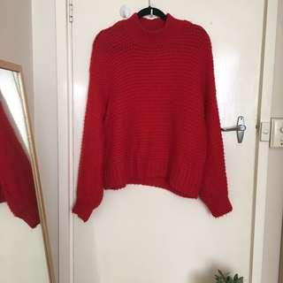 Chunky Red Knit Jumper