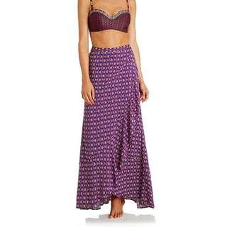 Tigerlily Kazak Skirt Sz 6 Purple Maxi Wrap Skirt with Frill