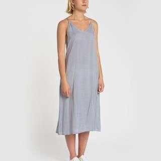 Kuwaii Camisole Slip Dress Blue and White Strip Sz 6 XS Midi Length (mid calf)