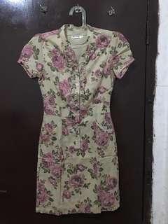Dress Coklat Susu Bunga