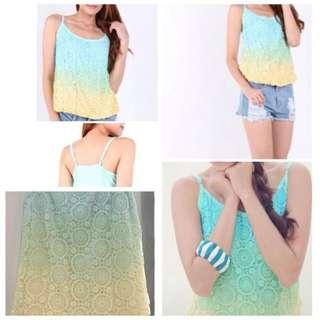 Ombré Lace Crochet Cami Top