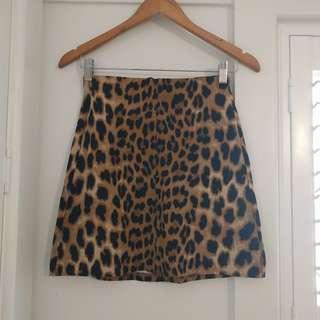 Bardot leopard print A-line skirt size 8