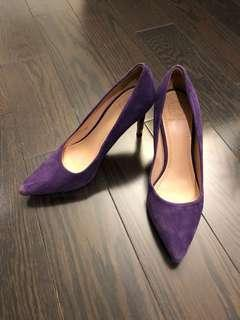 Tory Burch purple suede pumps