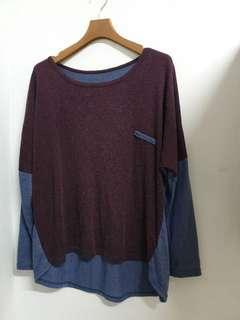 🚚 藍色紫色相間 飛鼠袖 圓領造型 上衣 賣場三件免運