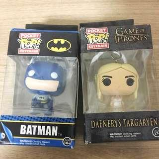 Batman and daenerys targaryen funko pop keychain