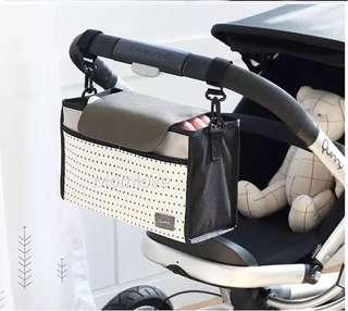 Ready Stock! Brand New Baby Stroller Organizer Bag with Velcro, Grey/Pink