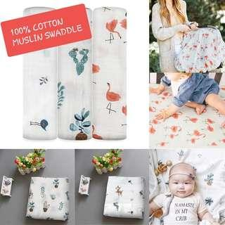 Instock Baby Swaddles/ Muslin Blanket for baby n kids