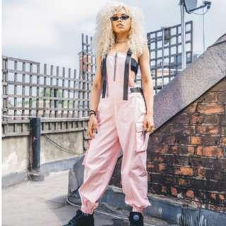 Jaded London Twill Pink Overalls