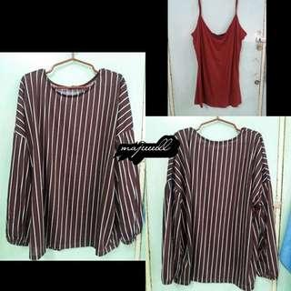 Terranova Red Striped Long Sleeve Top