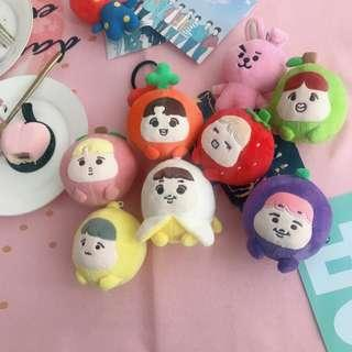 BTS // fruit plush keyring doll