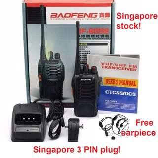 🚚 Free Earpiece! 3 pin plug! New Black Baofeng BF-888S 888 Walkie Talkie UHF 400-470MHz Two Way Radio Outdoor Long Range Convoy travel holidays kids