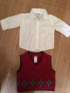 Off white Polo and Red Knitted sleeveless