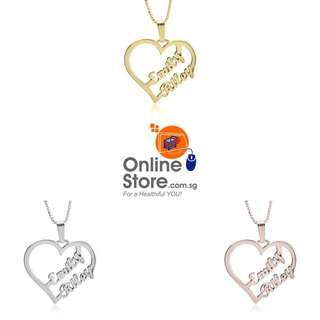 24K Gold Plated or 925 Sterling Silver Couple Heart Necklace