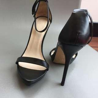Sandals Heeled, Leather, ZARA - Black / size 38, in perfect condition