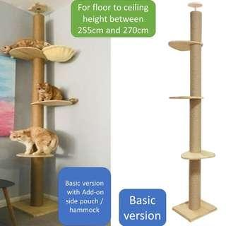Cat Ceiling scratch pole condo tree, not carrier cage food litter tray toy pet