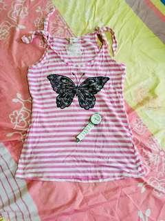 Preloved Pink Stripe Top