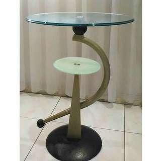 Two tier round glass table