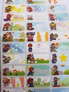 Super Mario name stickers