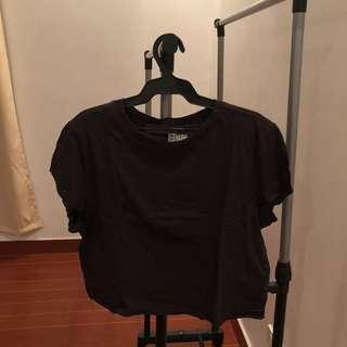 h&m crop shirt black