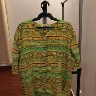 vintage summer top green and yellow