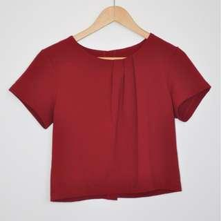 Maroon Boxy Top with Button Down Back