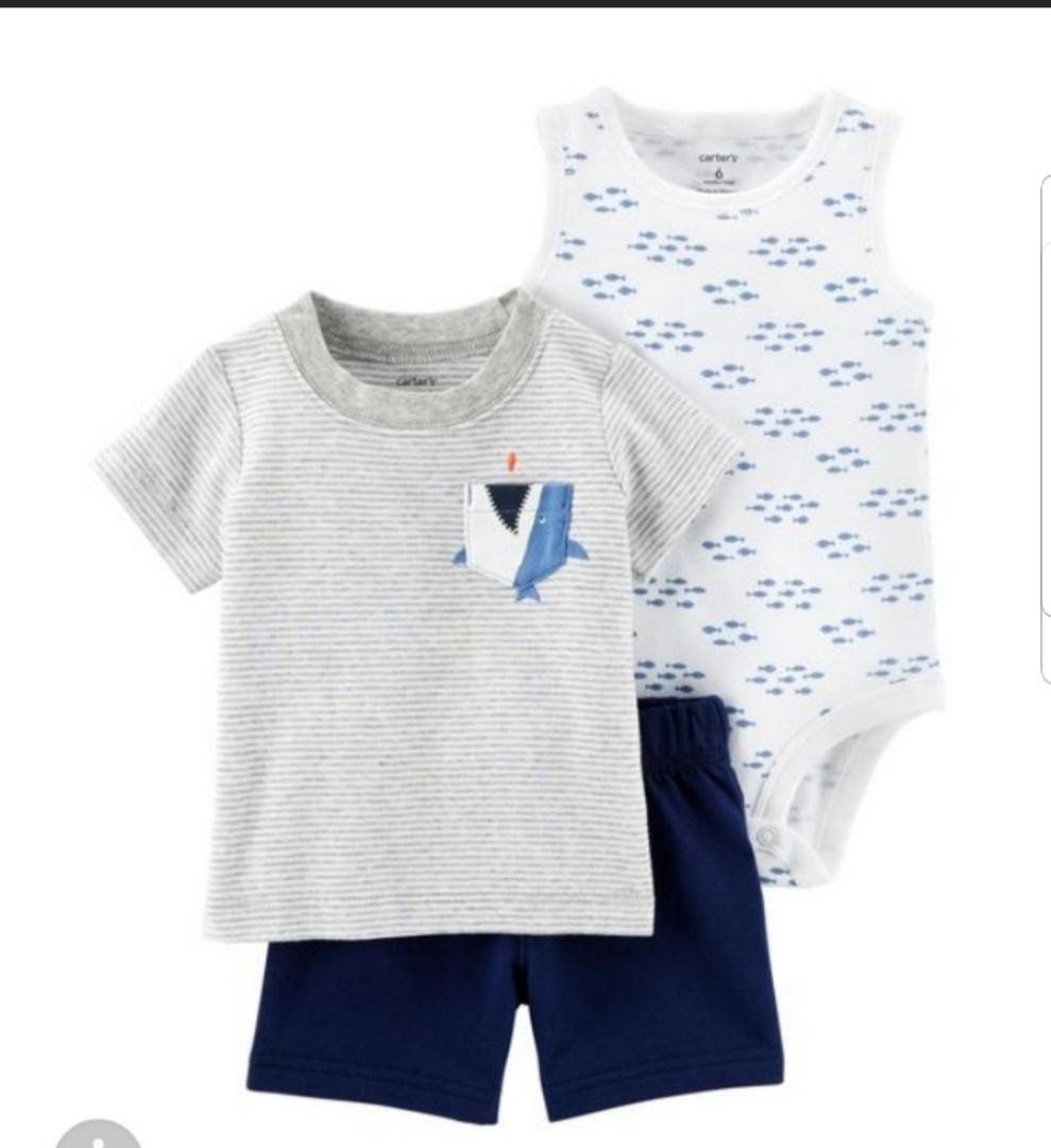 5baa393f9 12M* BN Carter's 3 Piece Bodysuit and Shorts Set For Baby Boy ...