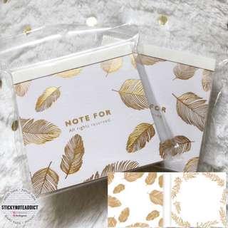 🚚 Metallic Gold Foil Feather Memo Pad