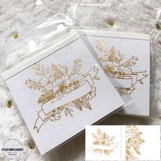 🚚 Metallic Gold Foil Flower Banner Memo Pad