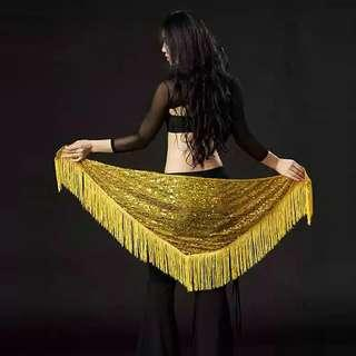 Belly Dance Sequins Hip Scarf (Yellow/Gold)