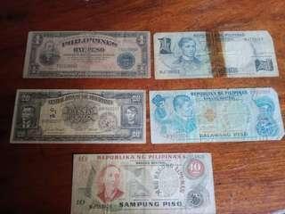 Assorted Vintage Philippine Money