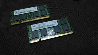 DDR2 laptop ram 1gb x2