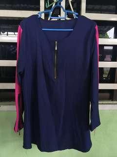 [FREE POSTAGE] Blue black pink line blouse