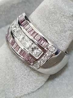 18K White Gold Fancy Pink and White Diamond Ring