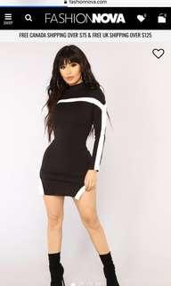 Long sleeve black dress fashion nova
