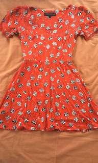 Topshop Red Floral Skater Dress