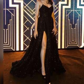 BLACK BALL GOWN WITH SLIT FOR RENT
