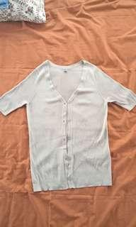 Uniqlo Light Grey Button Up Top