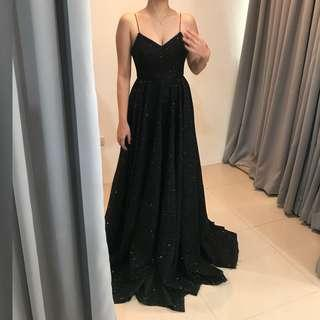 BLACK BALL EVENING GOWN WITH SLIT FOR RENT