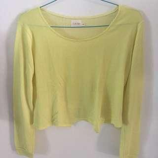 GAUDI YELLOW LONG SLEEVE TOP (lengan panjang semi crop)