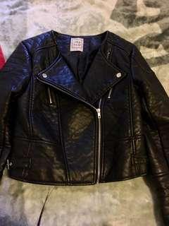 Lyla & Co black faux leather biker jacket size 12