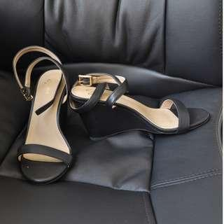 Black Open-toed Wedges