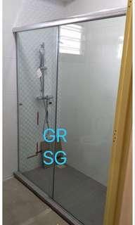 Alum top track sliding shower screen