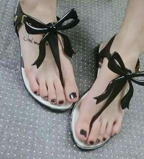 Ribbon jelly sandals