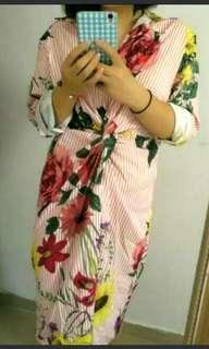 🚚 花柄長版襯衫連身洋裝