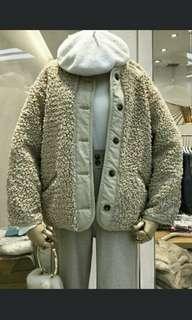 🚚 日系 雙面羔羊毛外套 棉襖 全新卡其色
