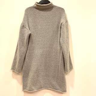 🚚 立領 淺灰色 長版長袖毛衣