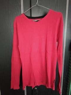 Baju Lengan panjang Merah Size Fit To L
