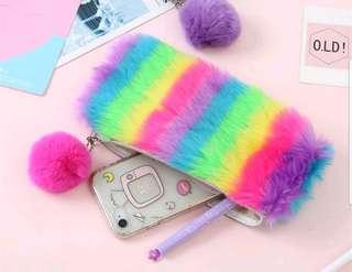 Cute Furry Rainbow Pencil Case