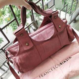 Authentic Francesco Biasia Sling Bag / Tote Bag Wine Color / Tas Slingbag Selempang Warna Ungu Merah Anggur Genuine Leather