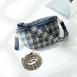Blue Woolen Leather Waist Bag Belt Tas Wol Pinggang Biru